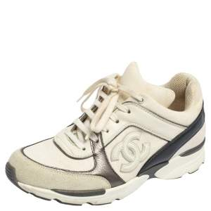 Chanel Grey/White  Leather And Canvas  CC Lace Up Sneakers Size 36.5