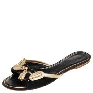 Chanel Black/Gold Suede And Leather CC Fringe Flat Slides Size 39.5