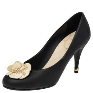 Chanel Black Leather Camellia Flower Pumps Size 38