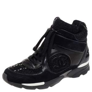 Chanel Black Tweed And Leather CC High Top Sneakers Size 38.5