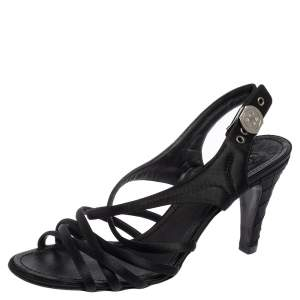Chanel Black Satin Strappy CC Buckle Sandals Size 39.5
