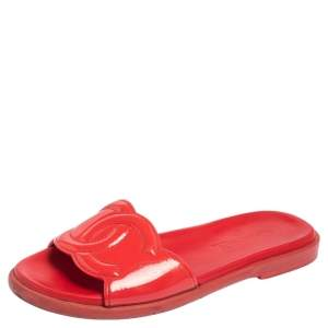 Chanel Red  Patent Leather CC Flat Slides Size 36.5