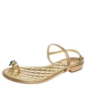 Chanel Metallic Gold Leather Enamel Embellished Toe Ring Ankle Strap Flat Sandals Size 37.5
