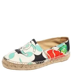 Chanel Multicolor Canvas CC Cap Toe Espadrille Flats Size 39
