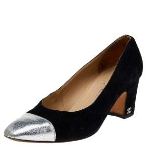 Chanel Black/Silver Leather And Suede CC Pumps Size 38