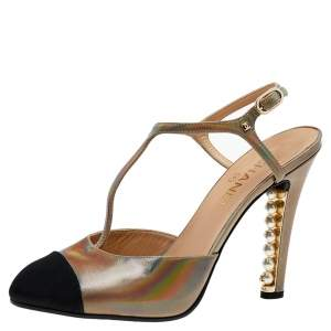 Chanel Multicolor Iridescent Leather And Fabric CC Pearl Embellished T Strap Sandals Size 40