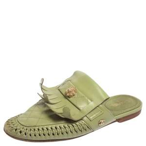 Chanel Green Quilted Leather Lion Fringe Flat Mules Size 38