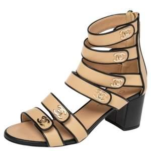 Chanel Beige/Black Leather CC Gladiator Sandals Size 38.5
