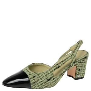 Chanel Green/Black Tweed And Patent  CC Cap Toe Slingback  Sandals Size 38