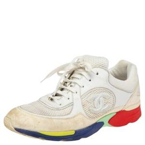 Chanel Multicolor Mesh, Suede and Leather CC Lace Up Sneakers Size 39