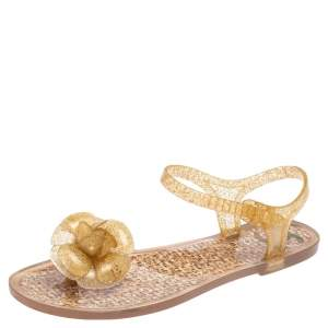 Chanel Gold Glitter Jelly CC Camellia Flat Sandals Size 36