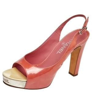 Chanel Orange Patent Leather Slingback Sandals Size 38.5