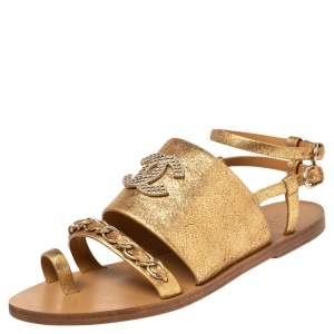 Chanel Gold Crackled Leather CC Chain Detail Slingback Flat Sandals Size 39.5