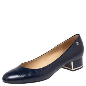 Chanel Navy Blue Leather CC Cap Toe Block Heel Pumps Size 39.5