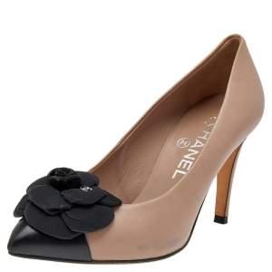Chanel Beige/Black Leather Camellia Pumps Size 36.5