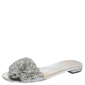 Chanel Silver Glitter Fabric Camellia Embellished CC Flats Size 41