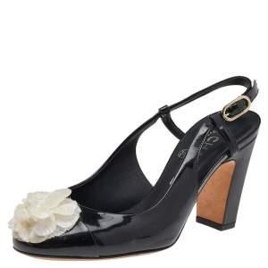 Chanel Black Patent Leather Camellia Embellished Slingback Sandals Size 36.5