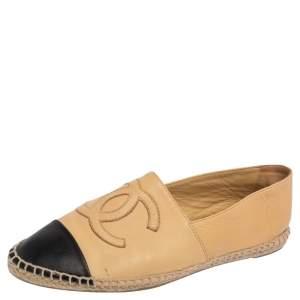 Chanel Beige/Black Leather CC Cap Toe Espadrille Flats Size 39