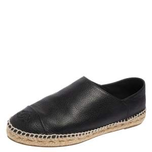 Chanel Black Leather CC Cap Toe Slip On Espadrille Flats Size 40