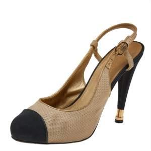 Chanel Gold/Black Fabric CC Slingback Sandals Size 39.5