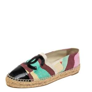 Chanel Multicolor Printed Canvas And Patent Leather CC Cap Toe Espadrilles Size 36
