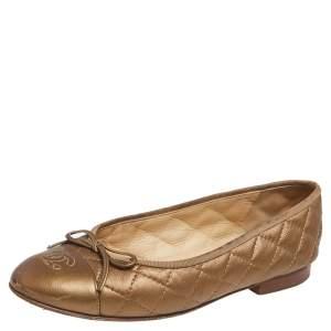 Chanel Metallic Bronze Leather CC Cap Toe Ballet Flats Size 37