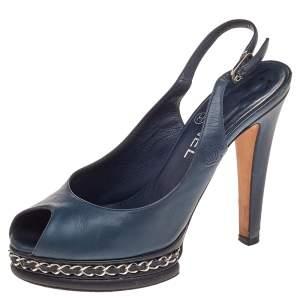 Chanel Blue Leather Chain Platform Slingback Sandals Size 37