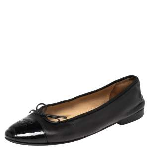 Chanel Black Leather and Patent Leather CC Cap Toe Bow Ballet Flats Size 39