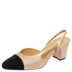 Chanel Gold/Black Textured Leather And Canvas CC Cap Toe Slingback Pumps Size 39