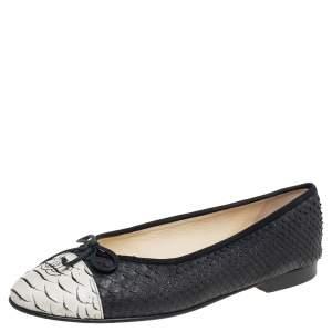 Chanel Black/White Python CC Cap Toe Bow Ballet Flats Size 39.5