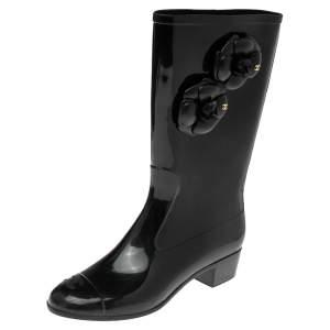 Chanel Black Camellia  Rubber Rain Boots Size 41