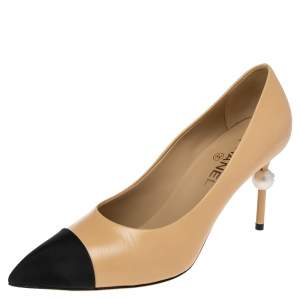 Chanel Beige Leather And Black Canvas Faux Pearl Cap Toe Pointed Toe Pumps Size 39.5