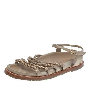 Chanel Beige Satin Chain Detail Ankle Strap Flat Sandals Size 37