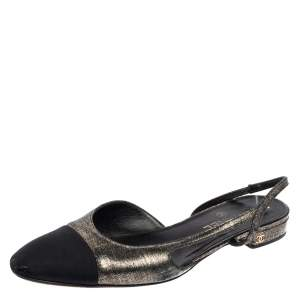 Chanel Black/Gold Suede and Fabric Cap Toe Slingback Flats Size 42