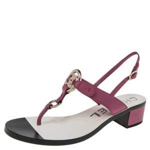 Chanel Purple Leather Logo Slingback Sandals Size 37