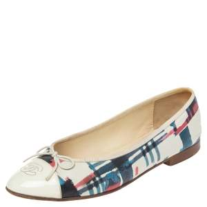 Chanel Multicolor Patent Leather And Leather Cap Toe CC Bow Ballet Flats Size 40