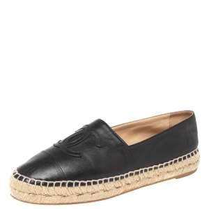 Chanel Black  Leather CC Cap Toe Espadrilles Flats Size 37