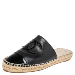 Chanel Black Leather And Patent  CC Cap Toe Espadrille Mules  Size 36