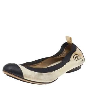 Chanel Beige-Black Leather CC Cap Toe Scrunch Ballet Flats Size 37