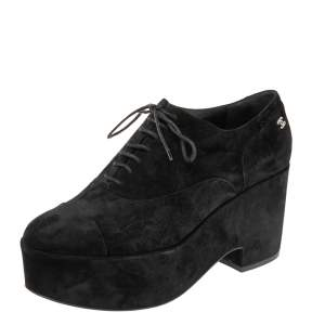Chanel Black Suede CC Cap Toe Wedge Oxford Size 41