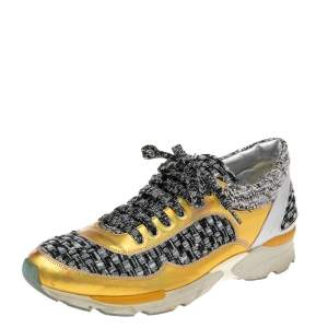 Chanel Multicolor Tweed And Leather Lace Up Sneakers Size 38.5