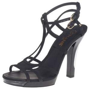 Chanel Black Fabric Strappy Sandals Size 40