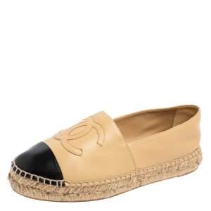 Chanel Beige/Black Leather CC Cap Toe Espadrilles Flats Size 39