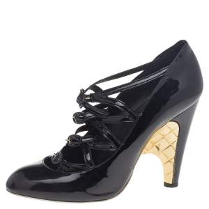 Chanel Black Patent Leather Cage Heel Strappy Pumps Size 39.5