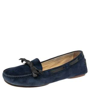 Chanel Navy Blue Suede Bow Detail Loafers Size 39