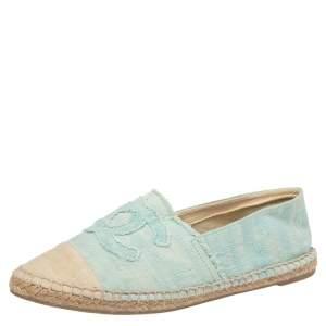 Chanel Blue/Beige CC Canvas Cap-Toe Espadrille Flat Size 39
