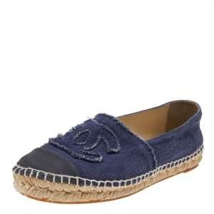 حذاء فلات شانيل CC إسبادريل دينم أزرق مقاس 39