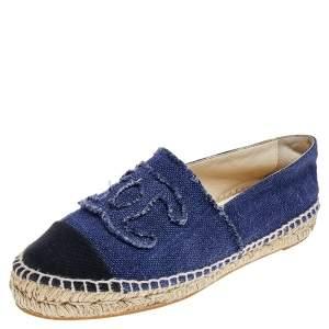 حذاء فلات شانيل CC  إسبادريل كانفاس أزرق / أسود مقاس 38