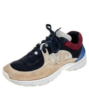 حذاء رياضي شانيل CC سويدي متعدد الألوان بعنق منخفض مقاس 40.5