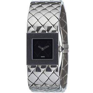 Chanel Black Stainless Steel Quilted Mademoiselle Women's Wristwatch 19 MM